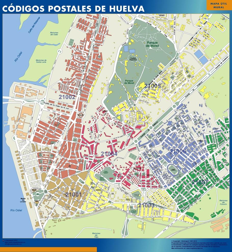 Mapa De Huelva Capital.Huelva Codigos Postales Vinilo Adhesivo