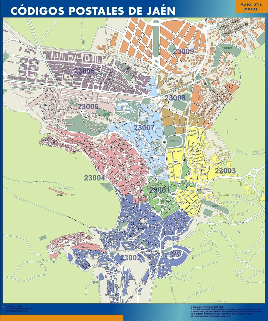 Mapa De Jaen Capital.Jaen Codigos Postales Magnetico Enmarcado Para Imanes