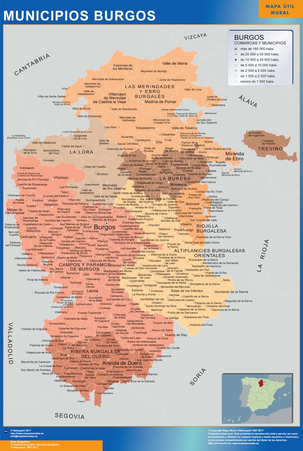 Mapa De España Burgos.Mapa Burgos Por Municipios Plastificado Velleda