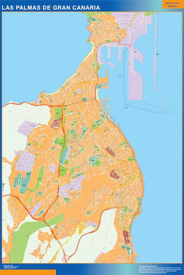 Callejero Mapa De Las Palmas.Mapa Las Palmas De Gran Canaria Callejero Enmarcado Plastificado