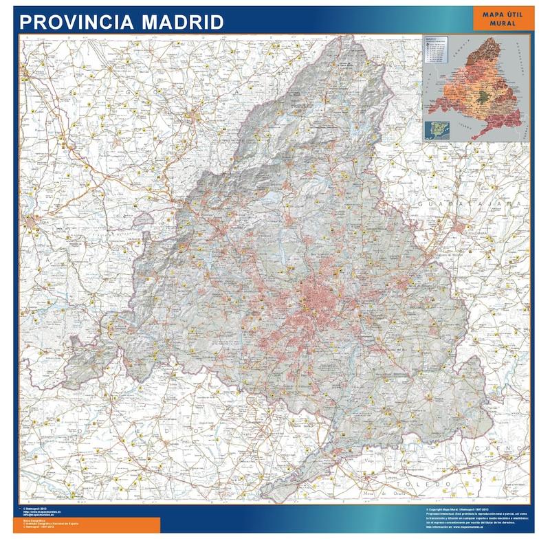 Mapa De Madrid Provincia.Mapa Provincia Madrid Mapas Murales De Pared