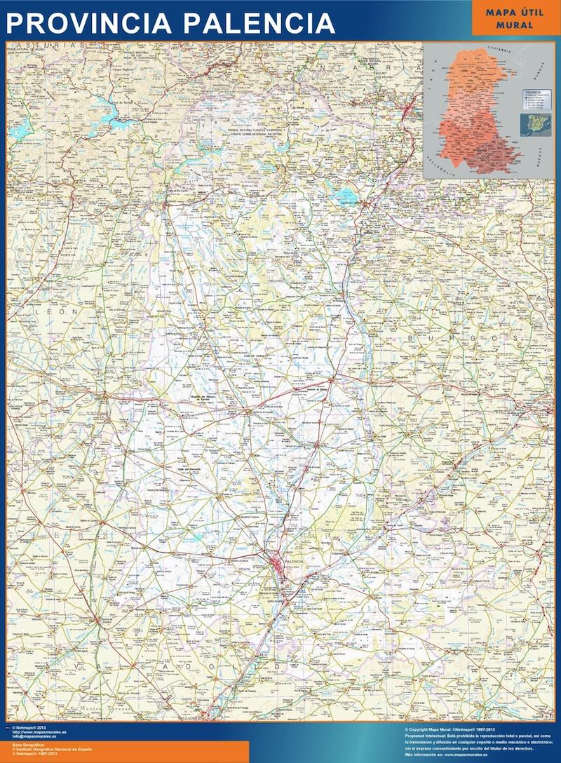 Provincia De Palencia Mapa.Mapa Provincia Palencia Enmarcado Plastificado