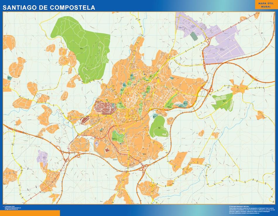 Callejero Mapa De Santiago De Compostela.Mapa Santiago De Compostela Callejero Vinilo Adhesivo