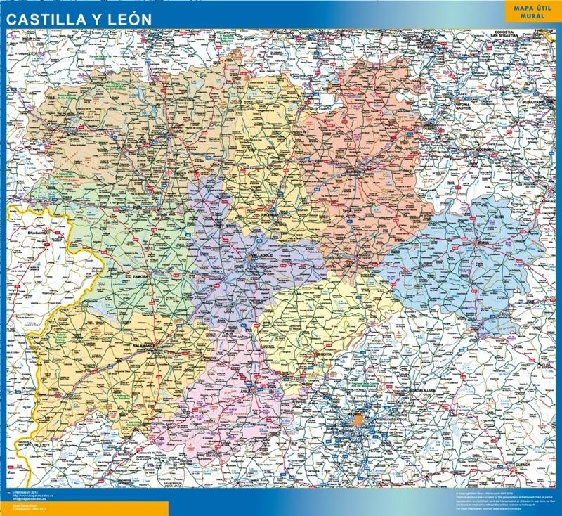 Mapa Castilla Y Leon.Mapa De Castilla Y Leon Enmarcado Plastificado