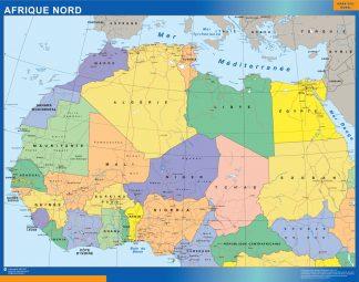 Mapa Africa Norte enmarcado plastificado