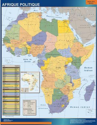 Mapa Africa Politico enmarcado plastificado