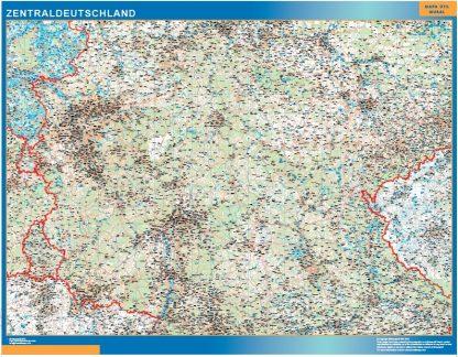 Mapa Alemania central carreteras enmarcado plastificado