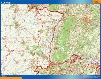 Mapa Alsace en Francia enmarcado plastificado