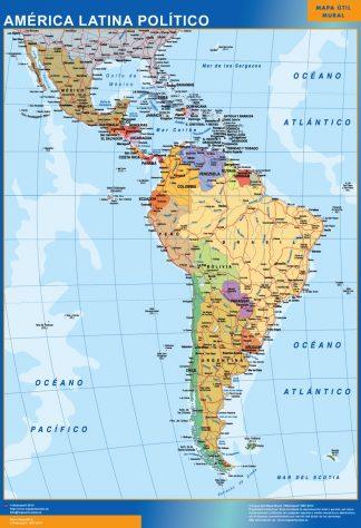 Mapa America Latina político enmarcado plastificado