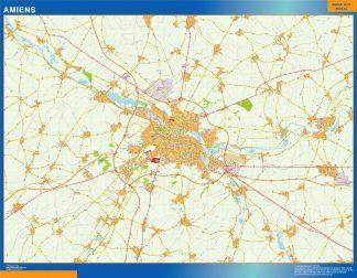 Mapa Amiens en Francia enmarcado plastificado