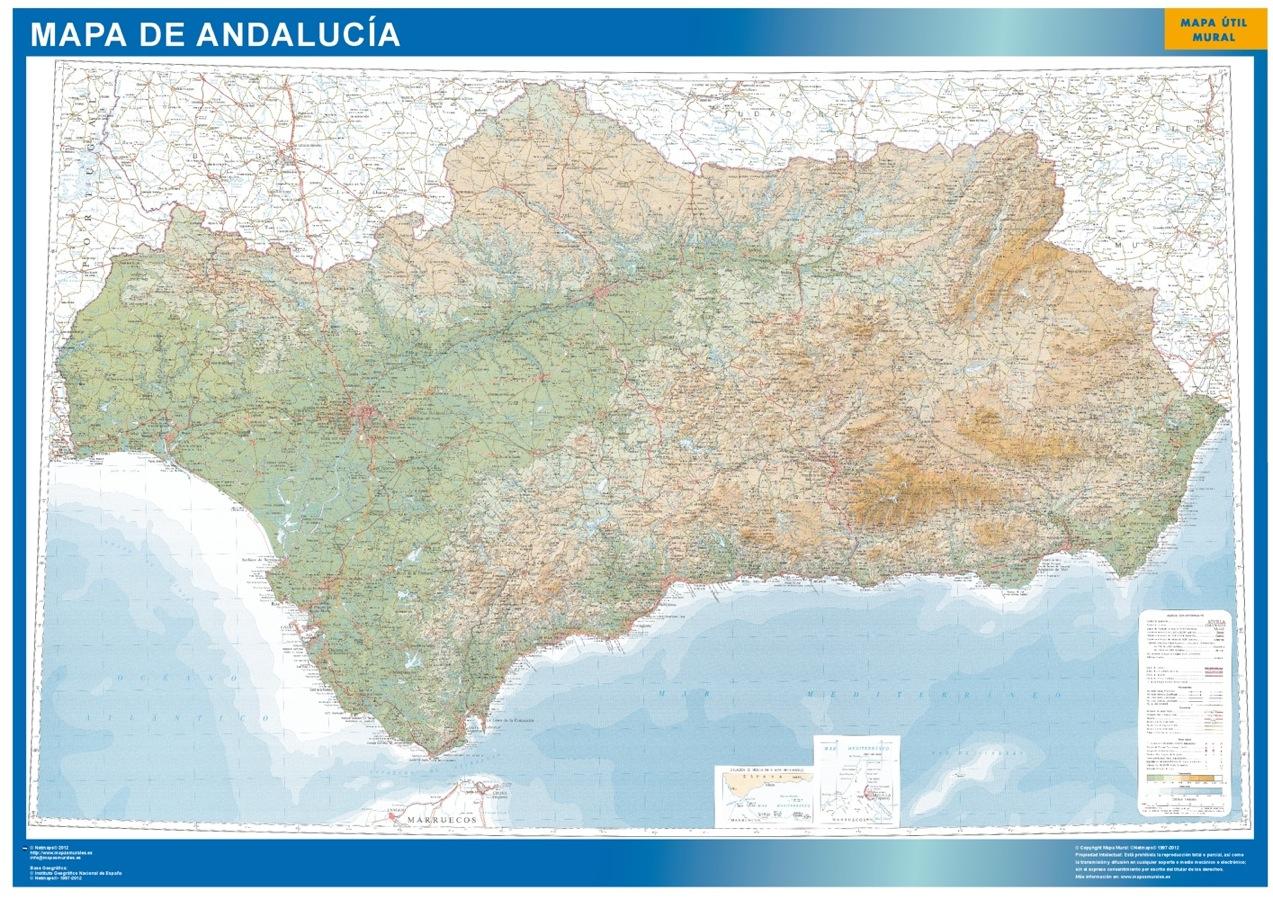 Mapa De Andalucía Físico.Mapa Andalucia Relieve Enmarcado Plastificado