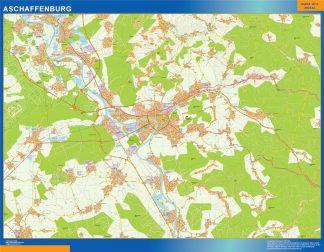Mapa Aschaffenburg en Alemania enmarcado plastificado