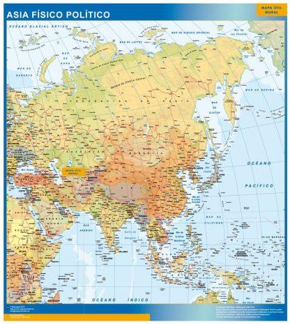 Mapa Asia enmarcado plastificado