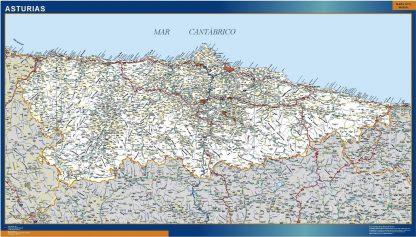 Mapa Asturias carreteras enmarcado plastificado