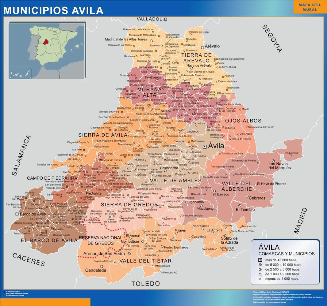 Mapa Provincia Castellon Municipios.Mapa Avila Por Municipios Plastificado Velleda