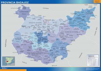 Mapa Badajoz por municipios enmarcado plastificado