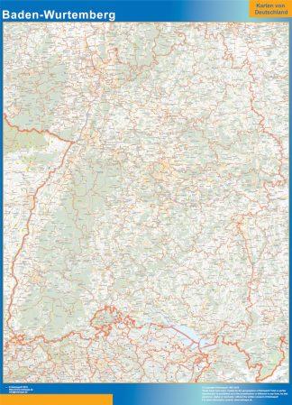 Mapa Baden-Wurtemberg enmarcado plastificado