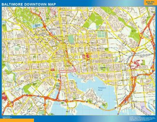 Mapa Baltimore downtown enmarcado plastificado