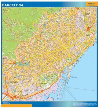Mapa Barcelona callejero enmarcado plastificado