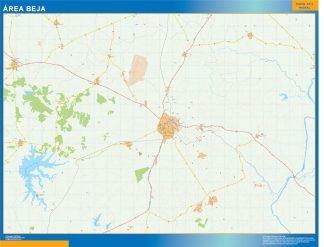 Mapa Beja área urbana enmarcado plastificado