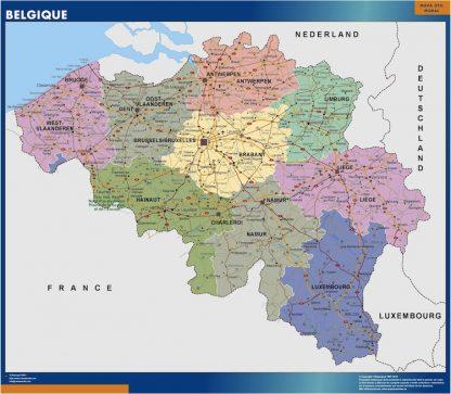Mapa Belgica enmarcado plastificado