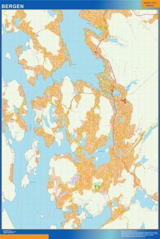 Mapa Bergen en Noruega enmarcado plastificado