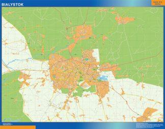 Mapa Bialystok Polonia enmarcado plastificado