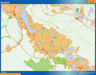 Mapa Bilbao callejero enmarcado plastificado