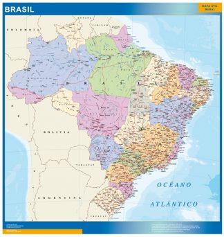 Mapa Brasil enmarcado plastificado