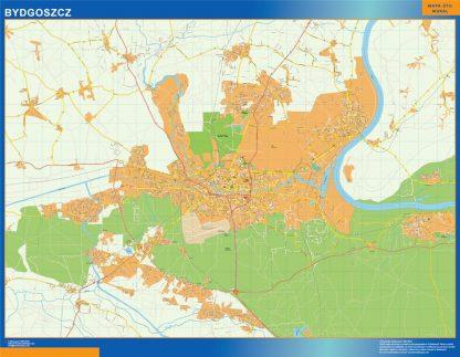 Mapa Bydgoszcz Polonia enmarcado plastificado