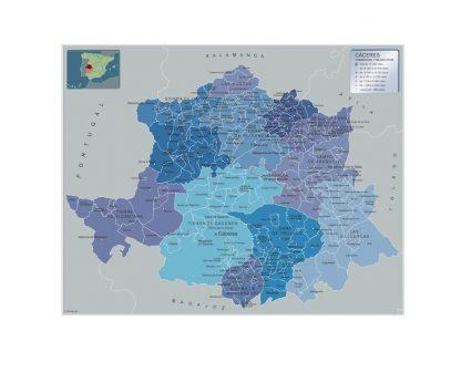 Mapa Caceres por municipios enmarcado plastificado