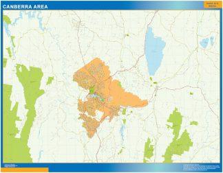 Mapa Canberra Area Australia enmarcado plastificado