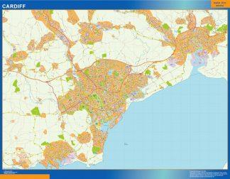 Mapa Cardiff enmarcado plastificado