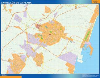 Mapa Castellon de la Plana callejero enmarcado plastificado