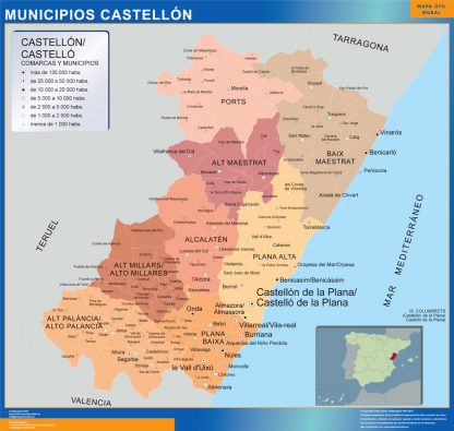 Mapa Castellon por municipios enmarcado plastificado