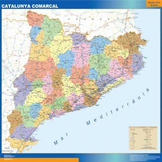 Mapa Cataluña comarcal enmarcado plastificado
