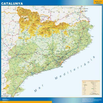 Mapa Cataluña físico enmarcado plastificado