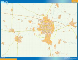 Mapa Celaya en Mexico enmarcado plastificado