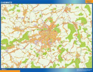 Mapa Chemnitz en Alemania enmarcado plastificado