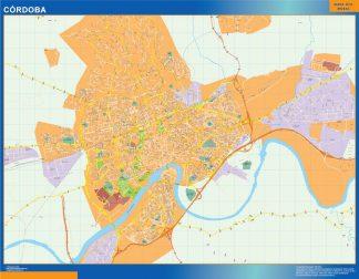 Mapa Cordoba callejero enmarcado plastificado