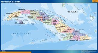Mapa Cuba enmarcado plastificado