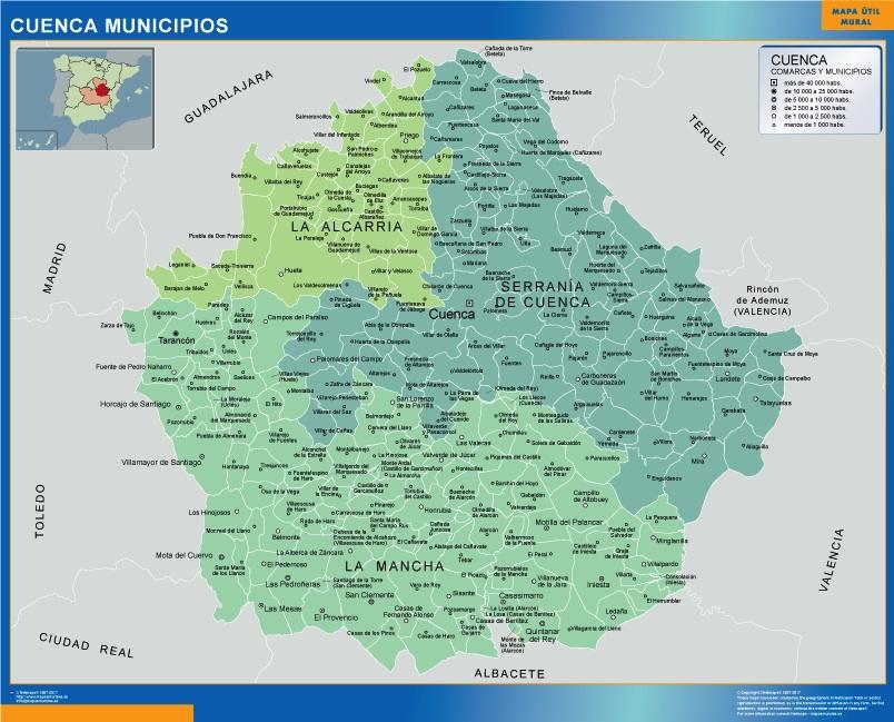 Mapa Provincia De Cuenca España.Mapa Cuenca Por Municipios Plastificado Velleda