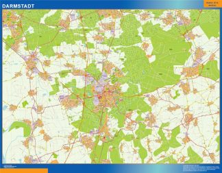 Mapa Darmstadt en Alemania enmarcado plastificado