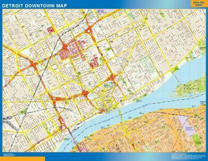 Mapa Detroit downtown enmarcado plastificado