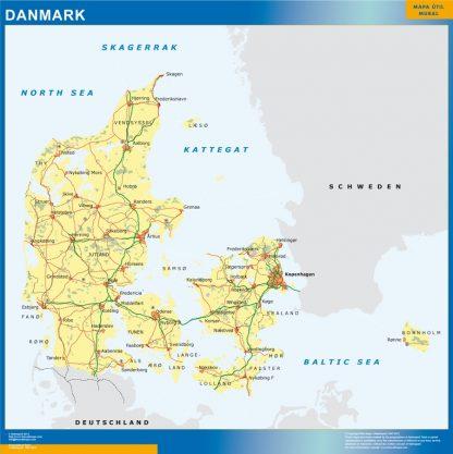 Mapa Dinamarca enmarcado plastificado