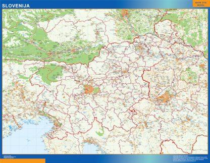 Mapa Eslovenia enmarcado plastificado