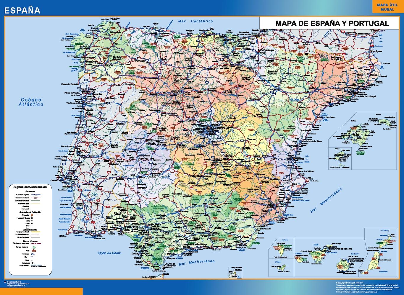 Mapa Carreteras De España.Mapa Espana Simple Plastificado Velleda