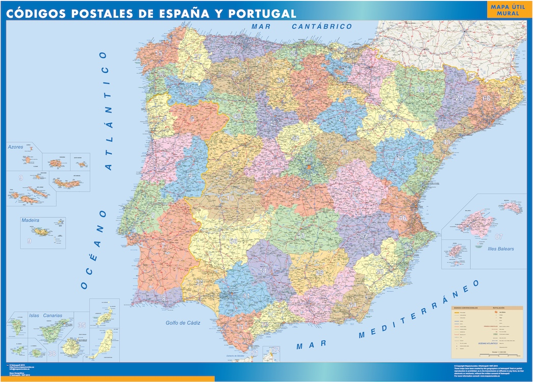 Mapa De España Carreteras.Mapa Espana Codigos Postales Plastificado Velleda