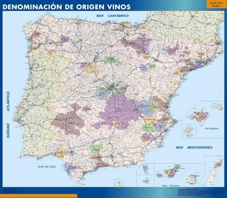Mapa De España Carreteras.Mapa Espana Denominacion Origen Vino Vinilo Adhesivo