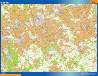 Mapa Essen en Alemania enmarcado plastificado